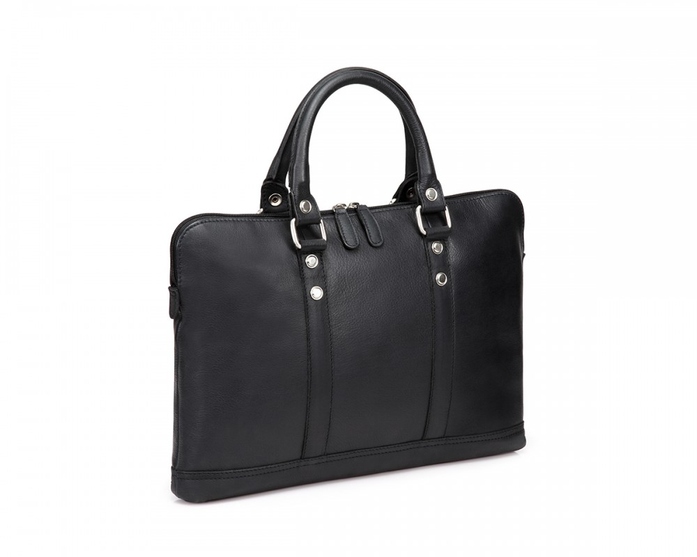 TheCultured Slim Laptop Bag - Black - Buy Online | LederMann