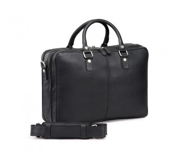 TheCultured Double Zip Laptop Bag - Black