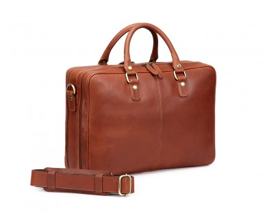 TheCultured Double Zip Laptop Bag - Tan
