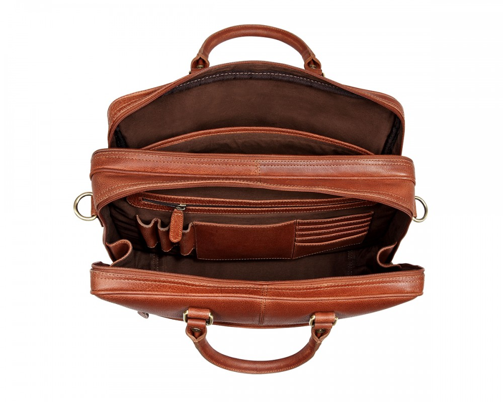 Thecultured Double Zip Laptop Bag Tan