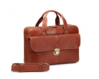 TheCultured Press Lock Laptop Bag - Tan