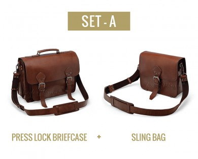 Set A - Press Lock Briefcase and Sling Bag