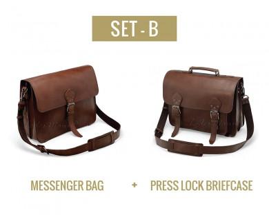 Set B - Messenger Bag and Press Lock Briefcase
