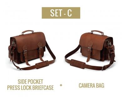 Set C - Side Pocket Press Lock Briefcase and Camera Bag