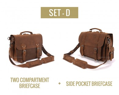 Set D - Two Compartment and Side Pocket Briefcase